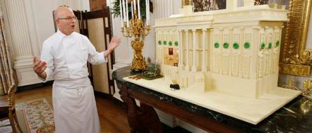 Gingerbread White House on display in the State Dining Room in Washington