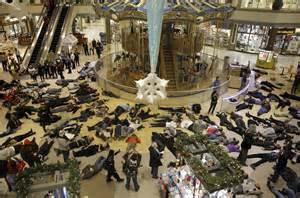 Protestors lie down