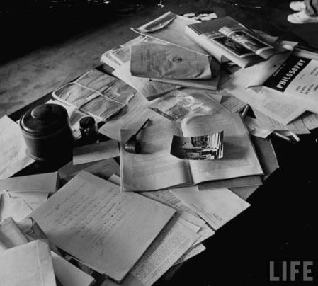 Einstein's desk on the day he died, which is MUCH neater than mine.