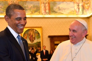 FOR USE AS DESIRED, YEAR END PHOTOS - FILE - Pope Francis and President Barack Obama smile as they meet at the Vatican Thursday, March 27, 2014. A visibly energized President Barack Obama held a nearly hourlong audience with Pope Francis at the Vatican, expressing his great admiration for the pontiff and inviting him to visit the White House. (AP Photo/Gabriel Bouys, File Pool)