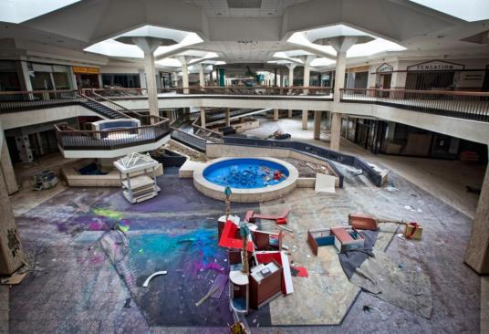 Interior view of the abandoned Randall Park Mall. Photographer Matthew Christopher visited the dilapidated Randall Park Mall in North Randall, Ohio, just months before demolition work began. (Matthew Christopher/Caters News)