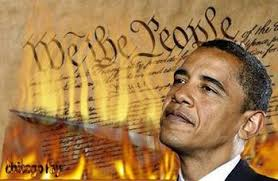 Obama burns constitution
