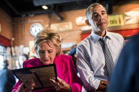 Hillary and Obama eating