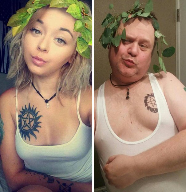 Dad makes fun of daughter's selfie's.